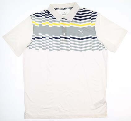 New Mens Puma Road Map Polo Large L Bright White/ Blazing Yellow 577880 MSRP $65