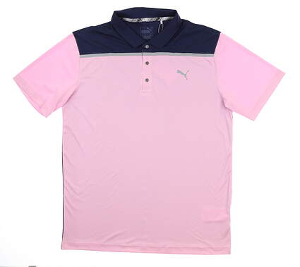 New Mens Puma Bonded Colorblock Polo Large L Pale Pink 577876 04 MSRP $70