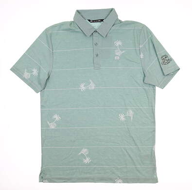 New W/ Logo Mens Travis Mathew Out of Office Polo Medium M Green MSRP $95