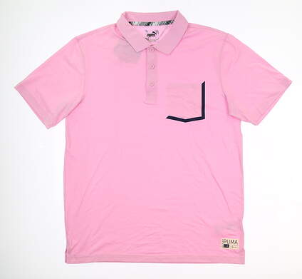 New Mens Puma Faraday Polo Large L Pale Pink 577878 04 MSRP $70
