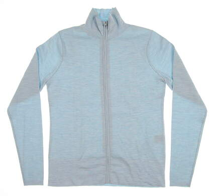 New Womens Peter Millar Cashmere Poly-Plaited Full-Zip Sweater Medium M Silver Sage LF18S03 MSRP $298