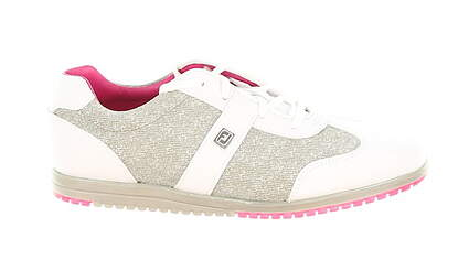 New Womens Golf Shoe Footjoy Casual Collection 7.5 Medium White/Grey Linen/Pink 97717 MSRP $135
