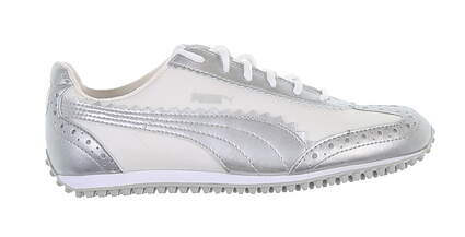 New Womens Golf Shoe Puma Cat Size 6 Medium White/Silver 185343 02 MSRP $75
