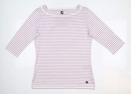 New Womens Footjoy Lisle Stripe Boatneck Shirt Small S Multi 27394 MSRP $68