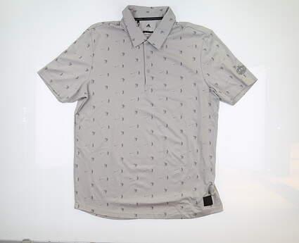 New W/ Logo Mens Adidas Adicross Pique Polo Large L Grey MF19EK01S MSRP $80