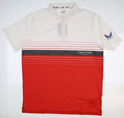 New Mens Puma Volition Horizon Polo Large L High Risk Red 577959 03 MSRP $80