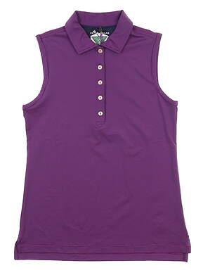 New W/ Logo Womens Peter Millar Sleeveless Polo Large L Purple LF17EK02D MSRP $80