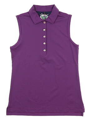 New W/ Logo Womens Peter Millar Sleeveless Polo X-Small XS Purple MSRP $69.50