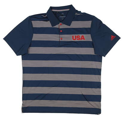New Mens Adidas Ultimate 365 Rugby Stripe Polo Medium M Multi DN4218 MSRP $70
