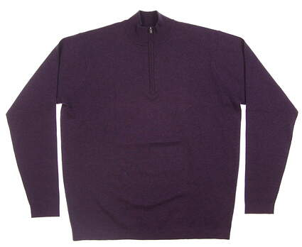 New Mens Peter Millar Seasonal Salsbury 1/4 Zip Sweater Medium M Purple Mum MF16ES01 MSRP $175