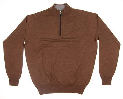 New Mens Peter Millar Nappa Trimmed 1/4 Zip Sweater X-Large XL Bourbon MF18S60 MSRP $225