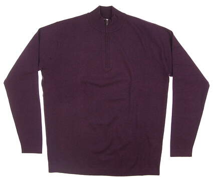 New Mens Peter Millar Salisbury Cotton-Poly 1/4 Zip Sweater Medium M Blackberry MF17S70 MSRP $185