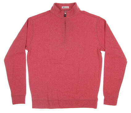 New Mens Peter Millar Melange 1/4 Zip Fleece Sweater Medium M Firethorn MF17K36 MSRP $145