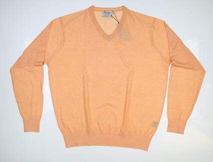 New Mens Peter Millar Crown Cool Wool-Linen Sweater Large L Orange MS17S20 MSRP $145