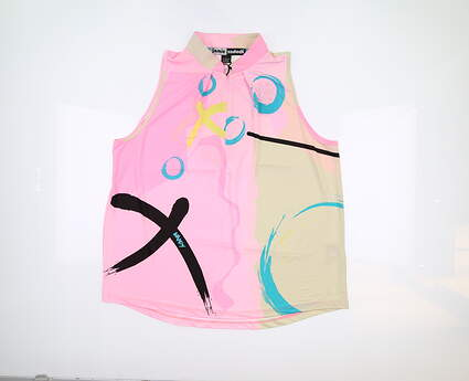 New Womens Jamie Sadock Sleeveless Polo Large L Multi 71247 MSRP $89