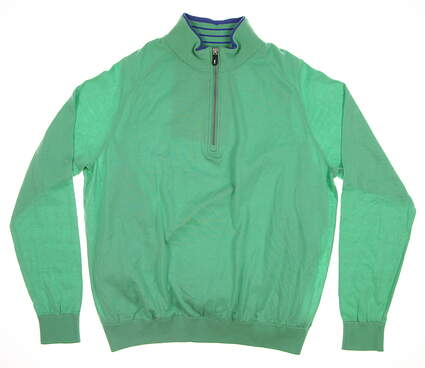 New Mens Fairway & Greene 1/4 Zip Wind Sweater Medium M Real Jade E31590 MSRP $165