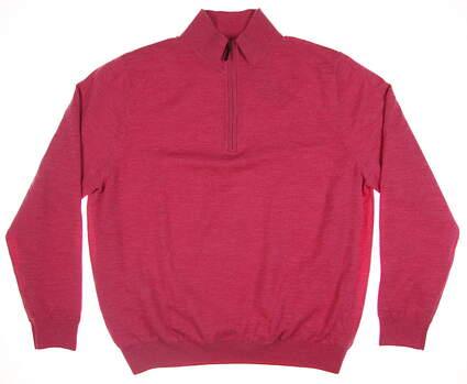 New Mens Fairway & Greene Baruffa Merino 1/4 Zip Wind Sweater X-Large XL Pink 04112 MSRP $200