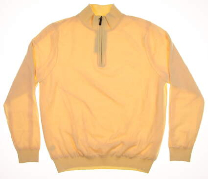 New Mens Fairway & Greene Baruffa Merino 1/4 Zip Wind Sweater Medium M Lemon 04112 MSRP $200