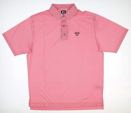 New W/ Logo Mens Footjoy Houndstooth Polo Large L Pink Azalea/ White 26069 MSRP $75