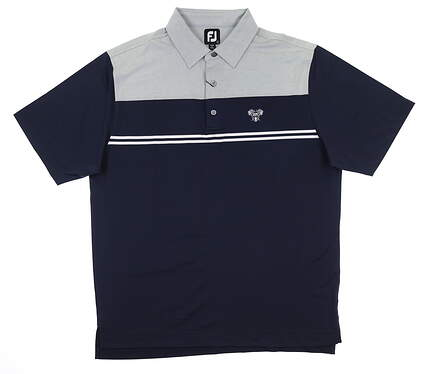 New W/ Logo Mens Footjoy Heather Color Block Polo Large L Grey/Navy 26071 MSRP $75