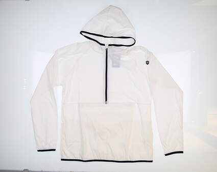 New Womens Cutter & Buck Breaker 1/2 Zip Hooded Popover Medium M White LCO00030 MSRP $120