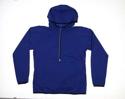 New Womens Cutter & Buck Breaker 1/2 Zip Hooded Popover Medium M Tour Blue LCO00030 MSRP $120
