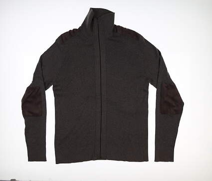 New Mens Greg Norman Shade Full Zip Sweater Large L Eclipse Gray G7F8S182 MSRP $100