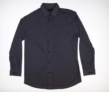 New Mens Greg Norman Evening Knit Sport Polo Large L Dark Night G7F8K980 MSRP $90