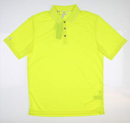 New Mens Adidas Climachill Solid Polo Medium M Neon Yellow Z98587 MSRP $65