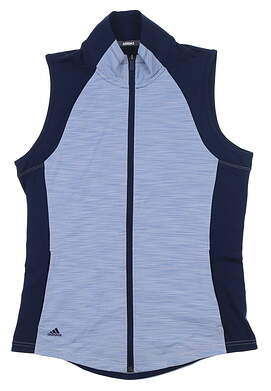 New Womens Adidas Full Zip Golf Vest Small S Blue DP5784 MSRP $65
