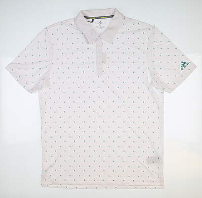 New Mens Adidas Pine Cone Critter Polo Medium M White/Green DQ2294 MSRP $65
