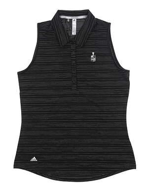 New W/ Logo Womens Adidas Sleeveless Golf Polo Medium M Black DW9468 MSRP $70