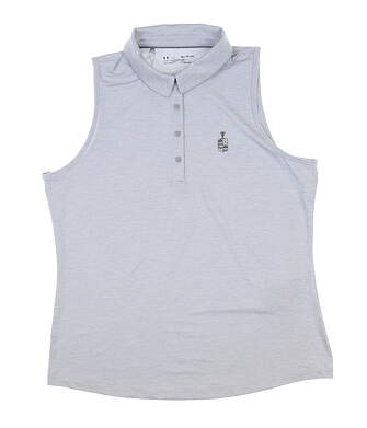 New W/ Logo Womens Under Armour Sleeveless Golf Polo X-Large XL Gray UW468 MSRP $70