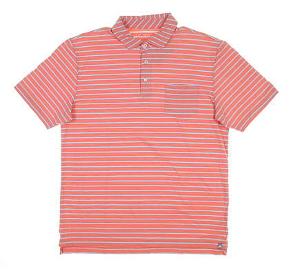 New Mens Peter Millar Sanibel Stripe Golf Polo Medium M Grapefruit MS19K76P MSRP $89