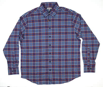 New Mens Peter Millar Lawler Check Flannel Button Down X-Large XL Winterberry MF18EW61Bl MSRP $145