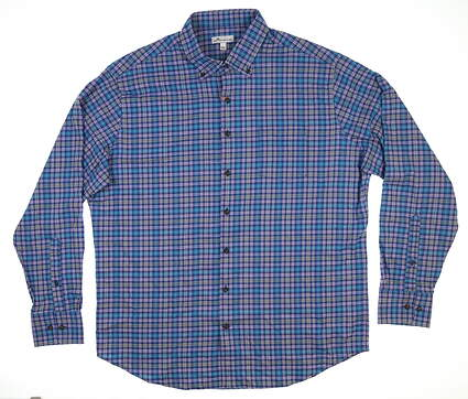 New Mens Peter Millar Neel Check Flannel Button Down X-Large XL Plaza Blue MF18EW63BL MSRP $145