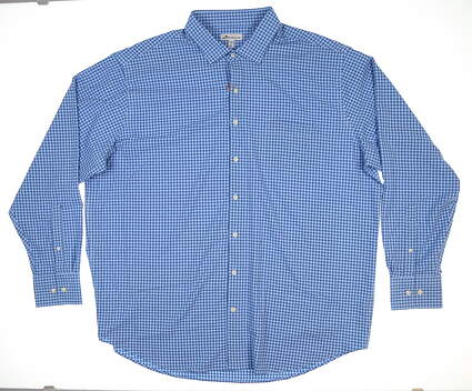 New Mens Peter Millar Hills Cotton Button Down XX-Large XXL Plaza Blue MF18EW70SL MSRP $145