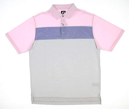 New Mens Footjoy Birdseye Jaquard Polo Large L Pink/Blue/Grey 26014 MSRP $78