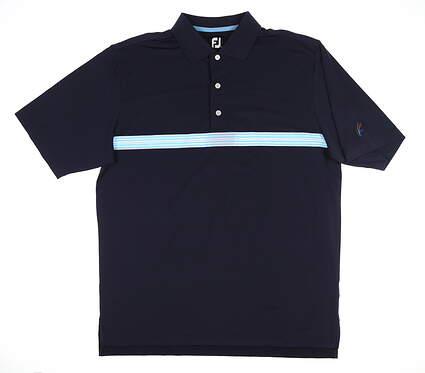 New W/ Logo Mens Footjoy Lisle Multi Stripe Polo Large L Navy Blue 25524 MSRP $78