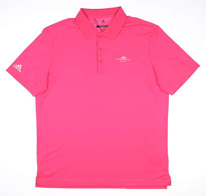 New W/ Logo Mens Adidas Performance Polo Large L Pink CF9357 MSRP $55