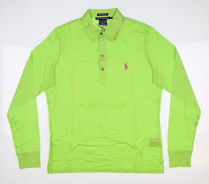 New Womens Ralph Lauren Long Sleeve Golf Polo Large L Green MSRP $85