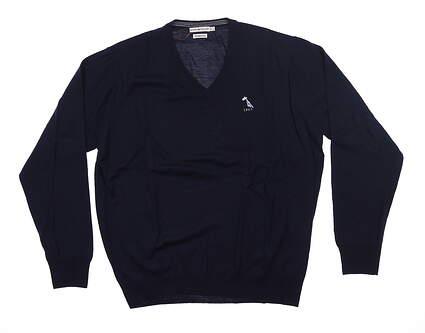 New W/ Logo Mens Peter Millar Sweater X-Large XL Navy Blue MC0S31 MSRP $155