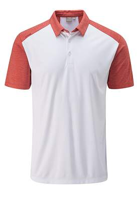 New Mens Ping Sonoran Polo Large L White/Deep Sea Coral P03354 MSRP $69