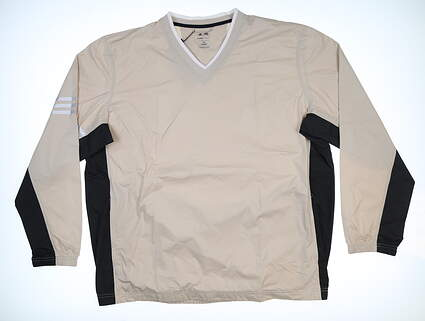 New Mens Adidas ClimaProof V-Neck Wind Shirt XX-Large XXL Tan MSRP $75