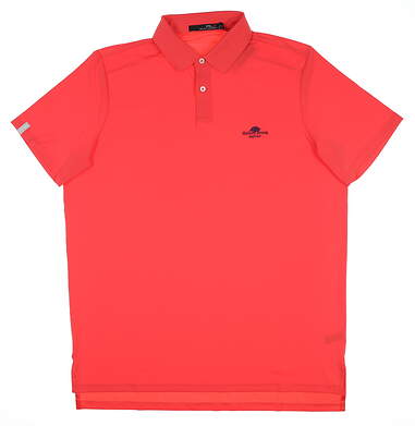 New W/ Logo Mens Ralph Lauren RLX Golf Polo Large L Coral Glow MSRP $90