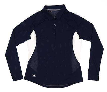 New Womens Adidas Ultimate Long Sleeve Golf Polo Small S Navy Blue DQ0519 MSRP $65