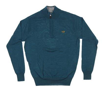 New W/ Logo Mens Peter Millar 1/4 Zip Sweater Small S Blue MF18S52 MSRP $115
