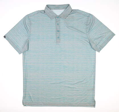 New Mens MATTE GREY Golf Polo Large L Multi MSRP $75