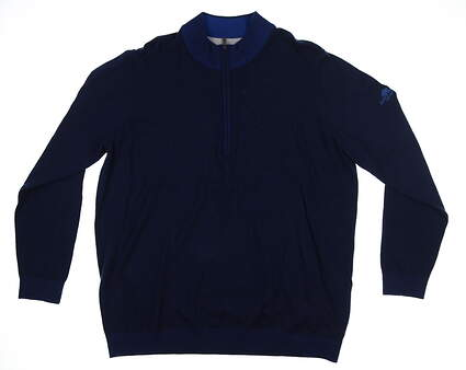 New W/ Logo Mens Adidas 1/4 Zip Golf Sweater XX-Large XXL Navy Blue CD3864 MSRP $140