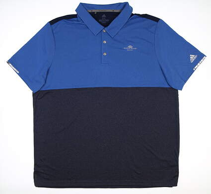 New W/ Logo Mens Adidas Golf Polo XX-Large XXL Blue DQ2240 MSRP $85